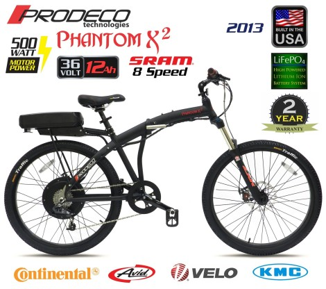 2013 Prodeco Technologies Phantom X2 36V 500W LiFePO4 Electric Bicycle eBike